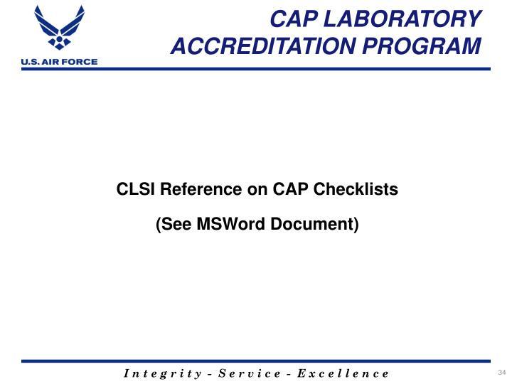 CAP LABORATORY ACCREDITATION PROGRAM