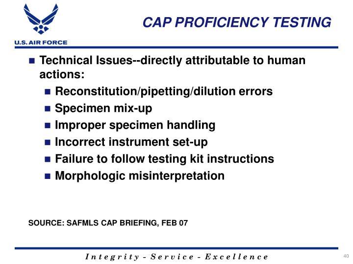 CAP PROFICIENCY TESTING