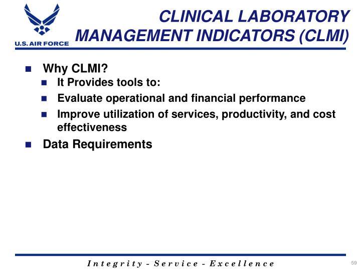 CLINICAL LABORATORY MANAGEMENT INDICATORS (CLMI)