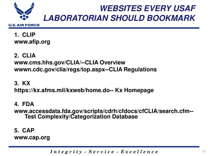 WEBSITES EVERY USAF LABORATORIAN SHOULD BOOKMARK