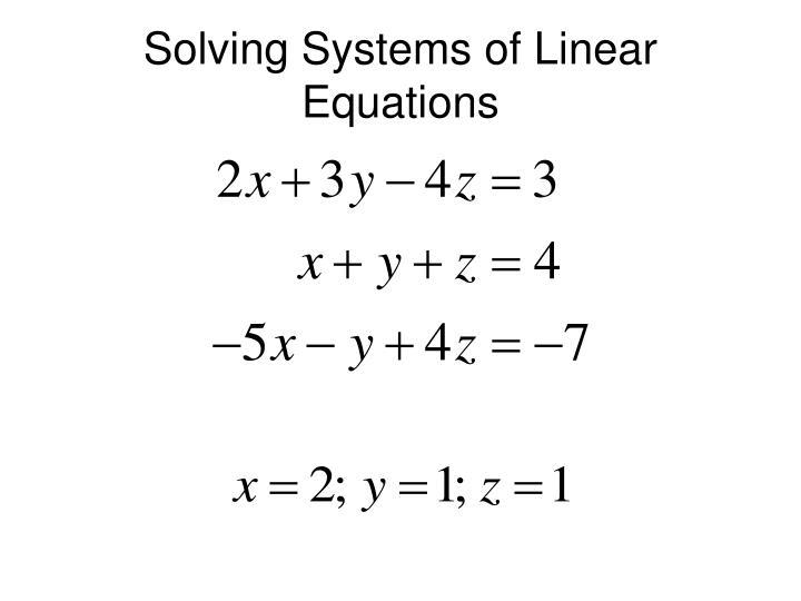 solving systems of linear equations n.
