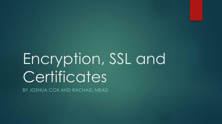 encryption ssl and certificates n.