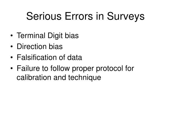 Serious Errors in Surveys