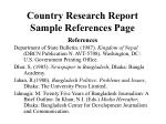country research report sample references page
