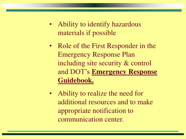 emergency response guidebook yellow section