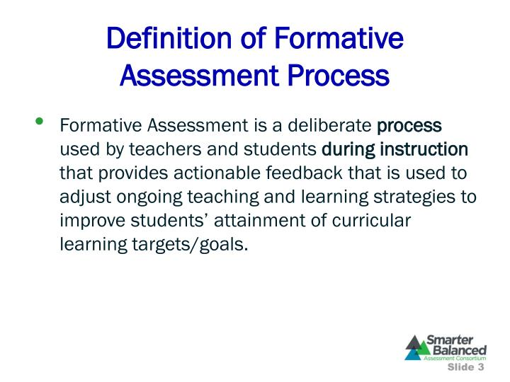 Definition of formative assessment process