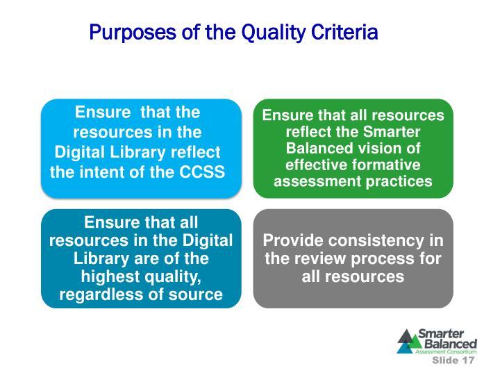 Purposes of the Quality Criteria