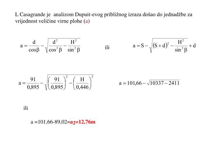 L Casagrande je  analizom Dupuit-evog približnog izraza došao do jednadžbe za vrijednost veličine virne plohe (