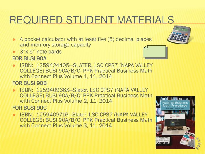 Required student materials