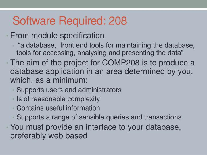 Software required 208
