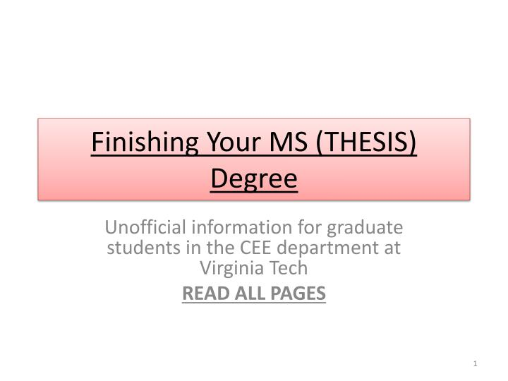 Finishing your ms thesis degree