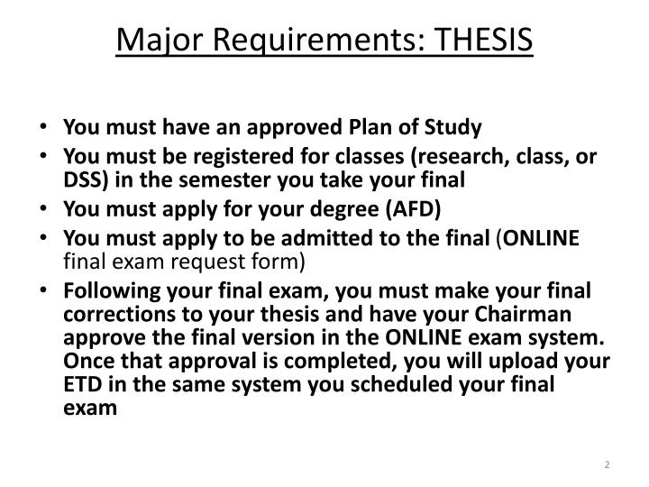 Major requirements thesis