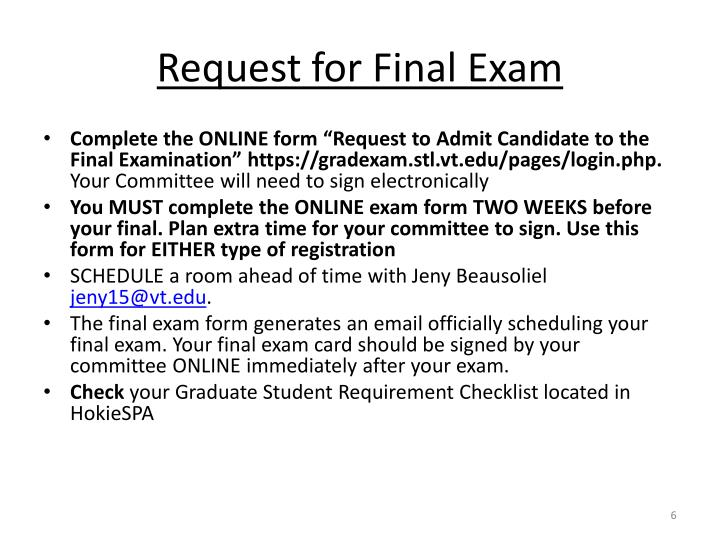 Request for Final Exam