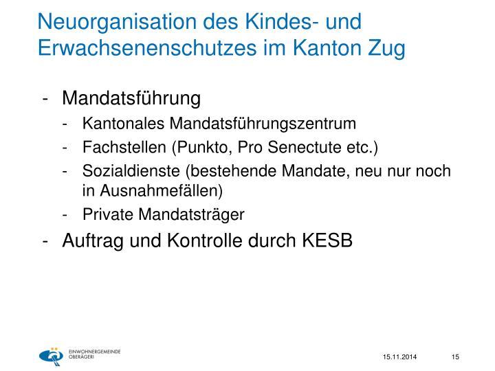 Neuorganisation des Kindes- und Erwachsenenschutzes im Kanton Zug
