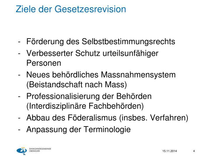 Ziele der Gesetzesrevision