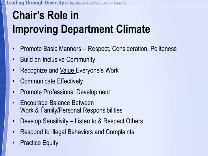Chair's Role in