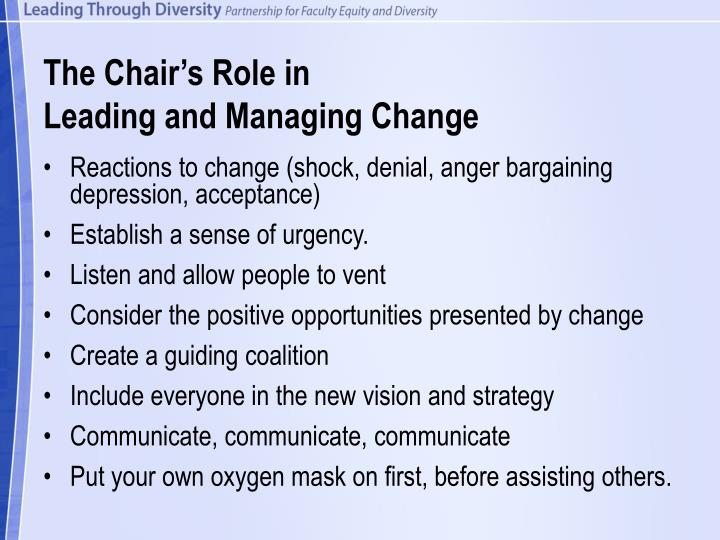 The chair s role in leading and managing change
