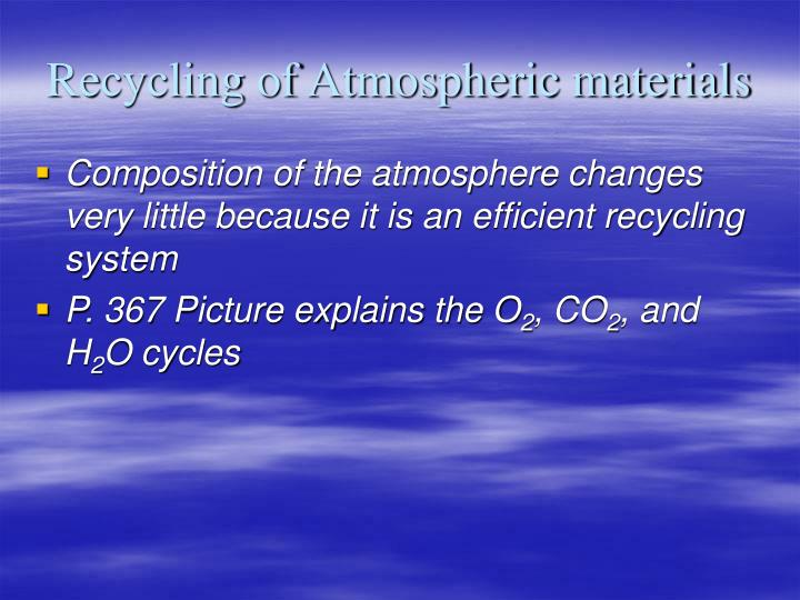Recycling of Atmospheric materials