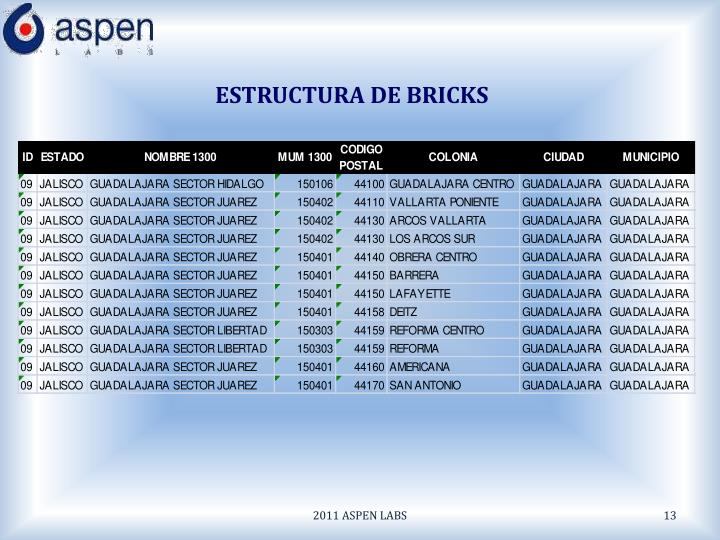 ESTRUCTURA DE BRICKS