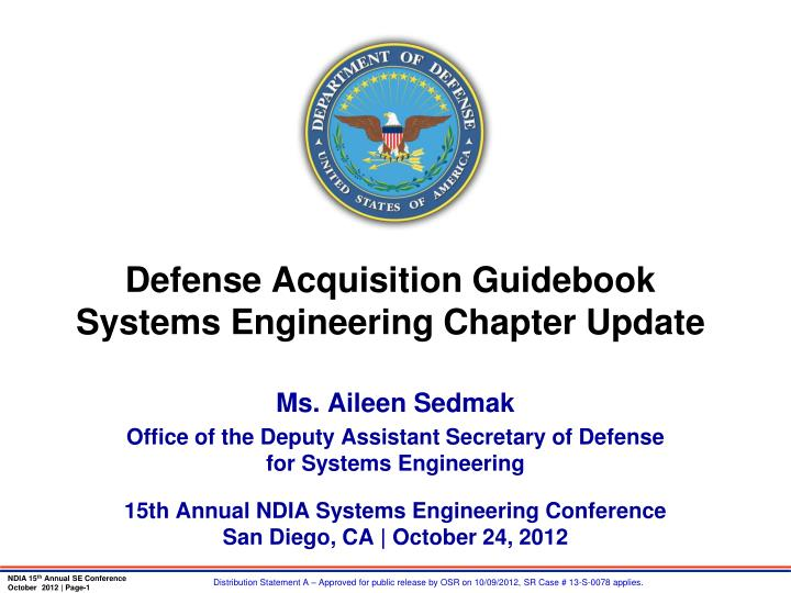 defense acquisition guidebook systems engineering chapter update n.