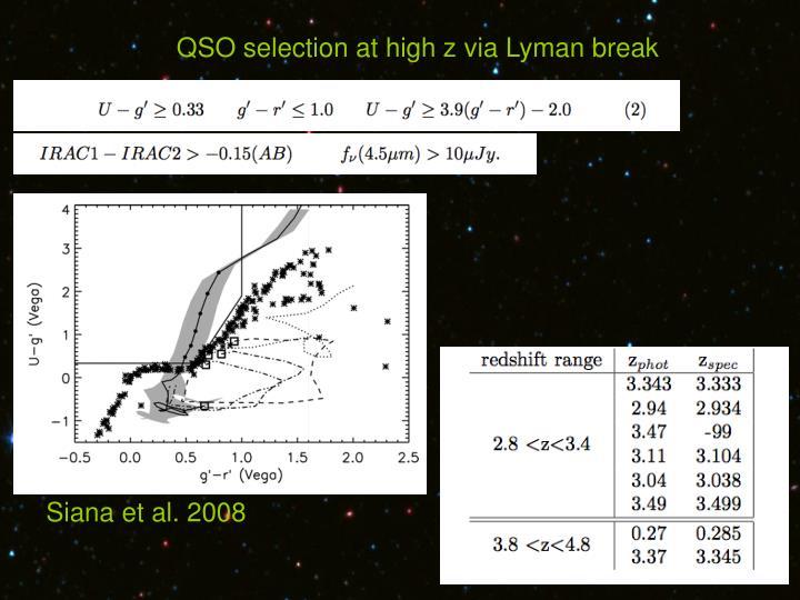 QSO selection at high z via Lyman break