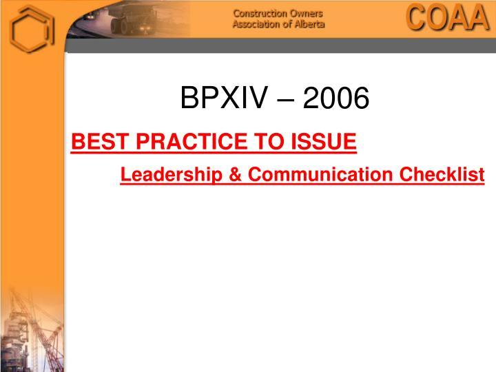 BPXIV – 2006