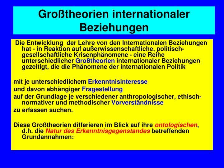 Großtheorien internationaler Beziehungen