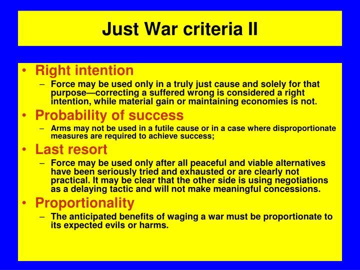 Just War criteria II