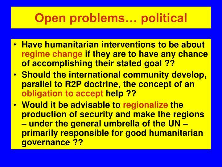 Open problems… political