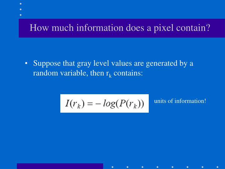 How much information does a pixel contain?