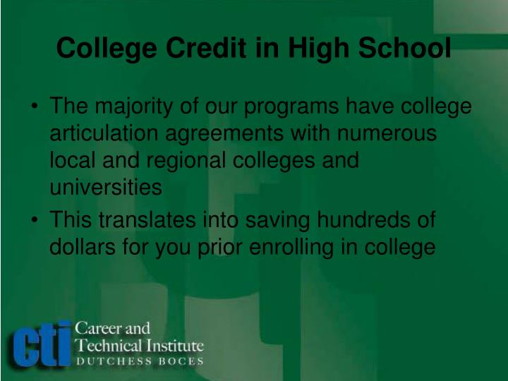 College Credit in High School
