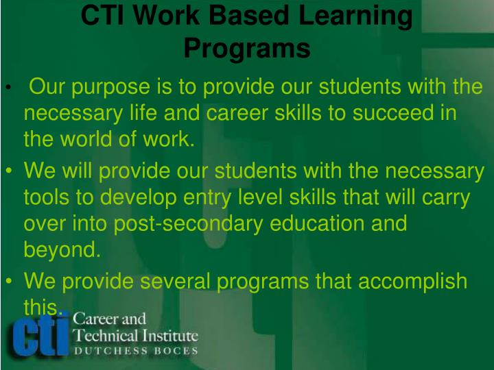 Cti work based learning programs