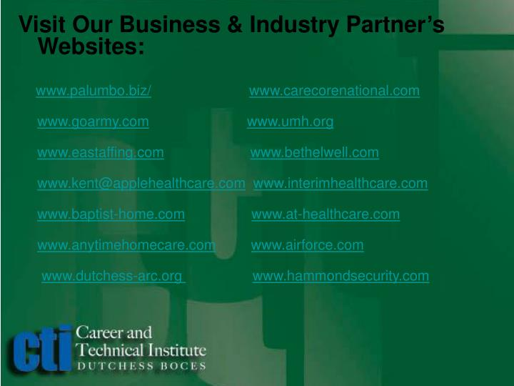 Visit Our Business & Industry Partner's Websites: