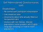 self administered questionnaires cont