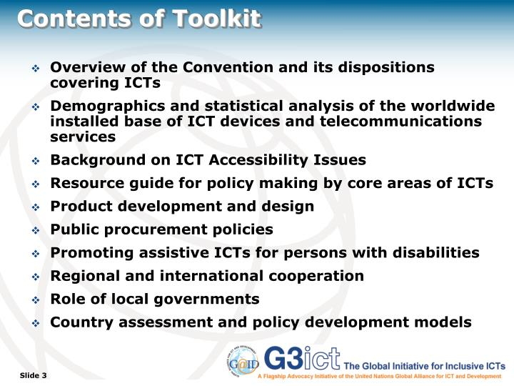 Contents of toolkit