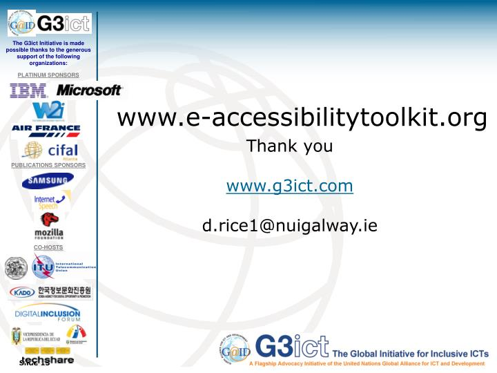 The G3ict Initiative is made