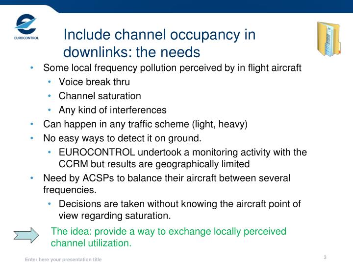 Include channel occupancy in downlinks the needs