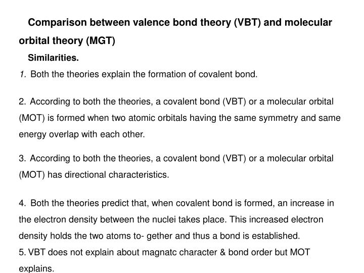 Comparison between valence bond theory (VBT) and molecular orbital theory (MGT)