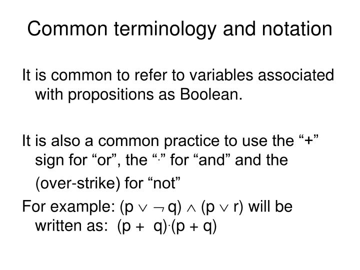 Common terminology and notation