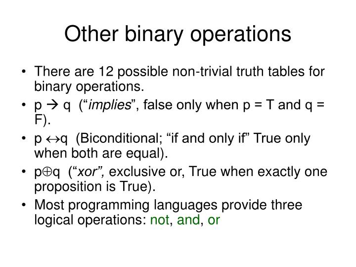 Other binary operations