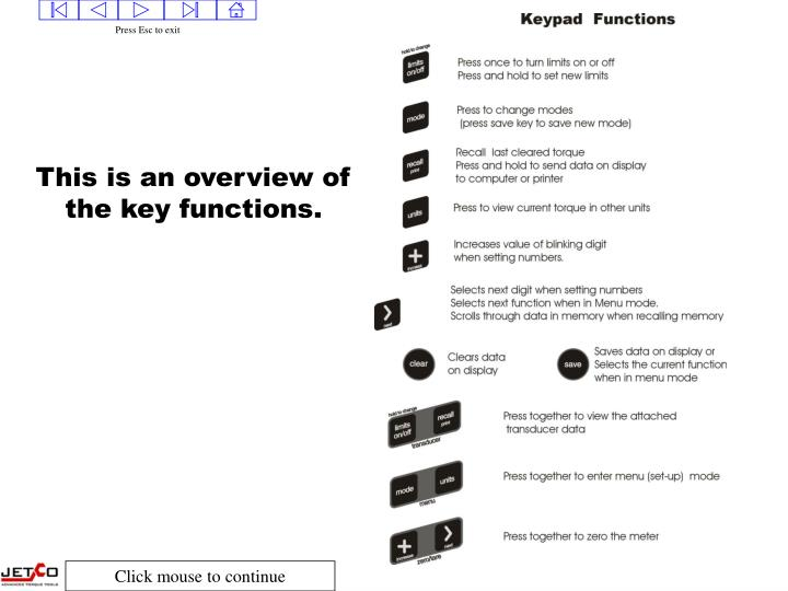 This is an overview of the key functions.