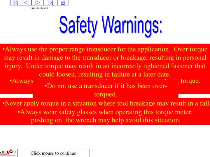 Safety Warnings: