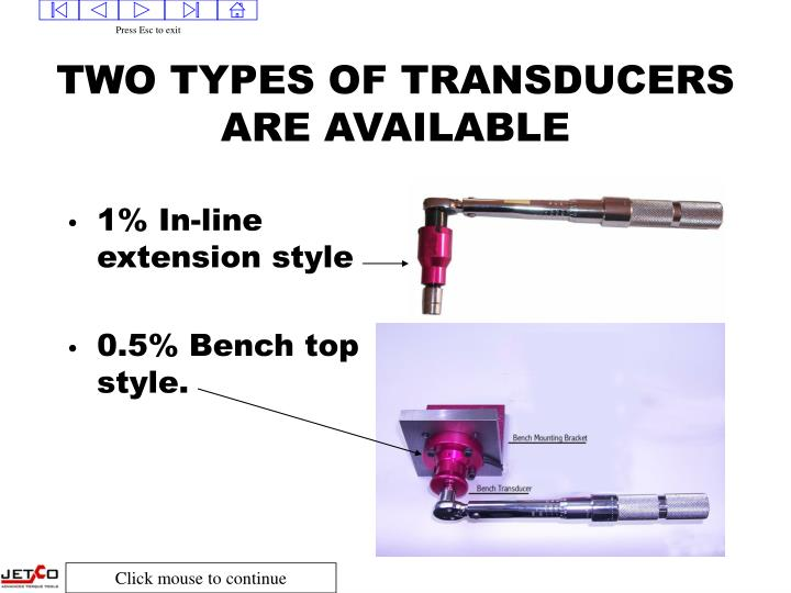 Two types of transducers are available