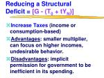 reducing a structural deficit g t 0 ty n