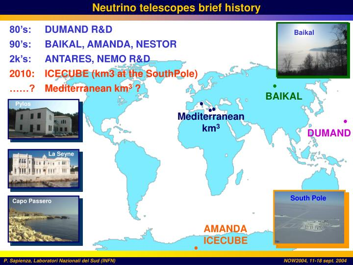 Neutrino telescopes brief history