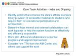 core team activities initial and ongoing