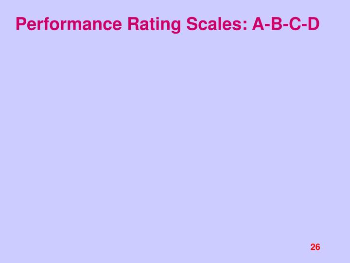 Performance Rating Scales: A-B-C-D