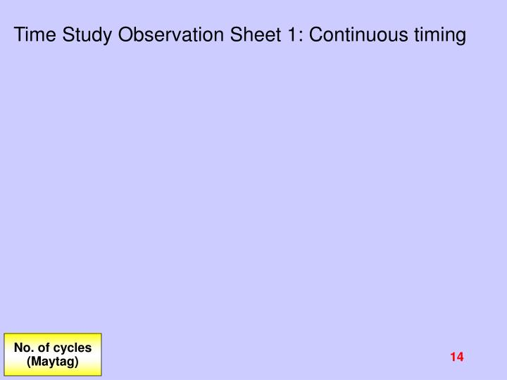 Time Study Observation Sheet 1: Continuous timing