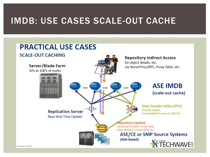 IMDB: USE CASES scale-out cache