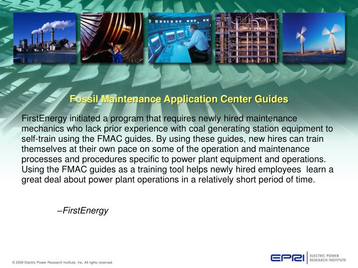 Fossil Maintenance Application Center Guides